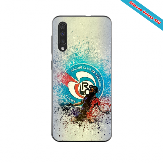 Coque silicone Iphone 11 PRO verre trempé Fan de Ligue 1 Nimes splatter