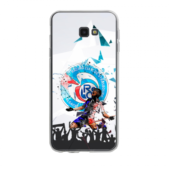 Coque silicone Iphone 6/6S PLUS verre trempé Fan de Ligue 1 Strasbourg splatter