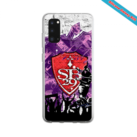 Coque Silicone Galaxy S9 verre trempé Fan de Ligue 1 Toulouse splatter