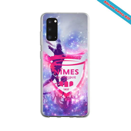 Coque Silicone Galaxy S9 verre trempé Fan de Ligue 1 Nimes splatter