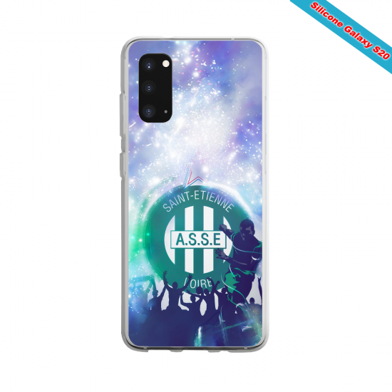 Coque Silicone Galaxy S9 verre trempé Fan de Ligue 1 Montpellier splatter