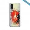 Coque Silicone Galaxy S9 verre trempé Fan de Ligue 1 Lille splatter