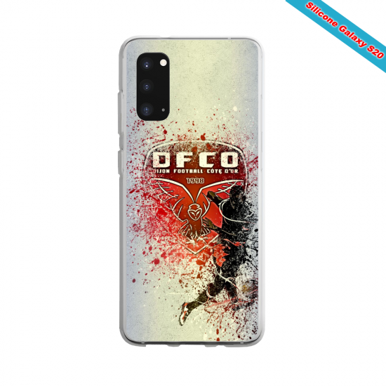 Coque Silicone Galaxy S9 verre trempé Fan de Ligue 1 Dijon splatter