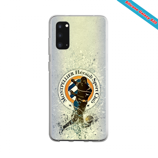 Coque Silicone Galaxy S9 verre trempé Fan de Ligue 1 Amiens splatter