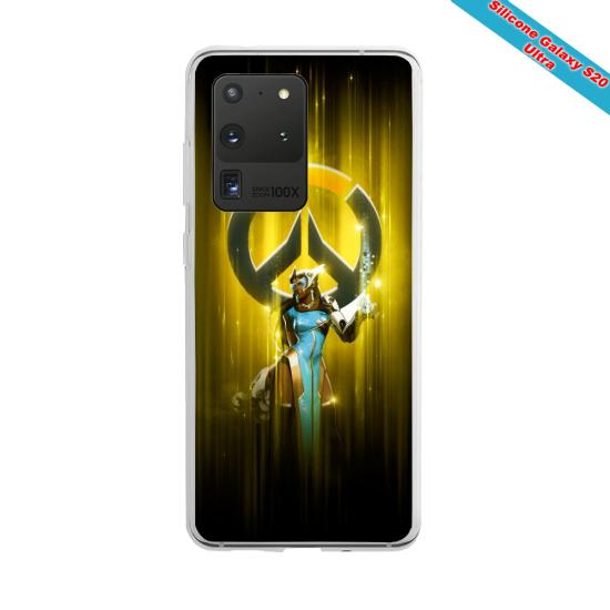 Coque Silicone Galaxy S10 verre trempé Fan de Ligue 1 Monaco splatter