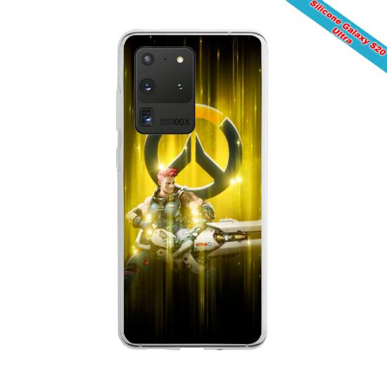 Coque Silicone Galaxy S10 verre trempé Fan de Ligue 1 Lyon splatter