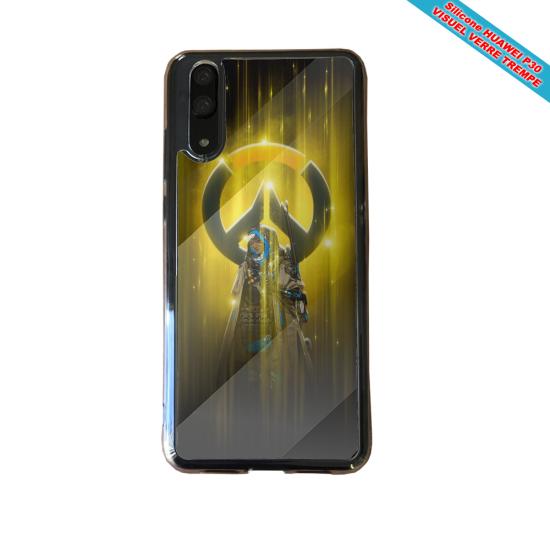 Coque silicone Huawei P40 Hibiscus bleu