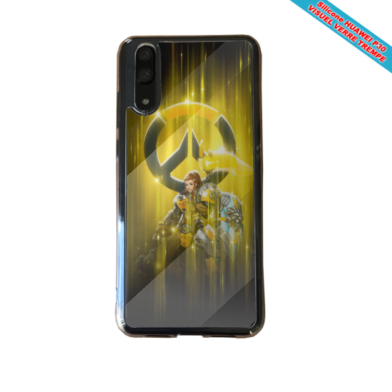 Coque silicone Huawei P20 LITE 2019 Hibiscus bleu