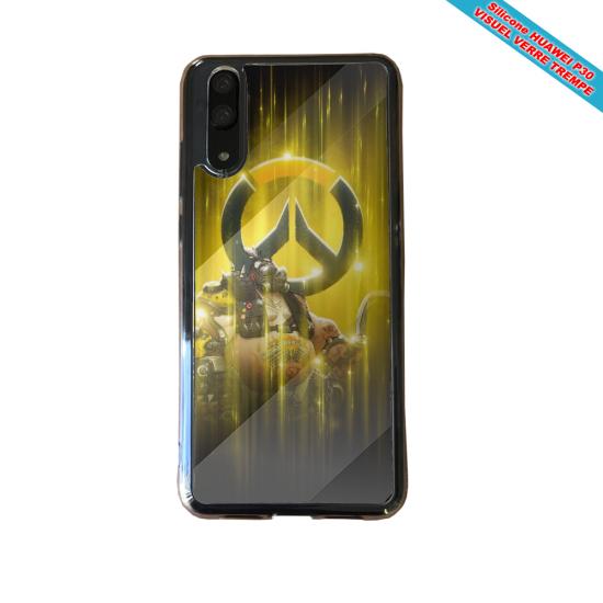 Coque silicone Huawei P20 Hibiscus bleu