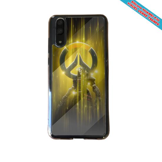 Coque silicone Huawei P9 Lite 2016 Hibiscus bleu