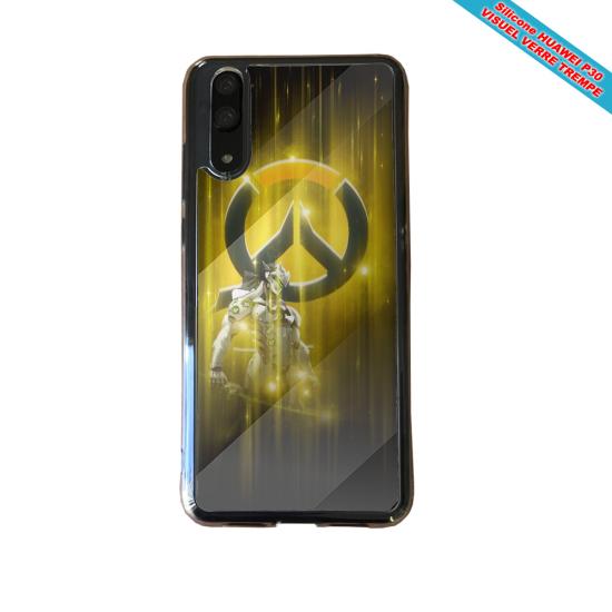Coque silicone Huawei P9 Hibiscus bleu