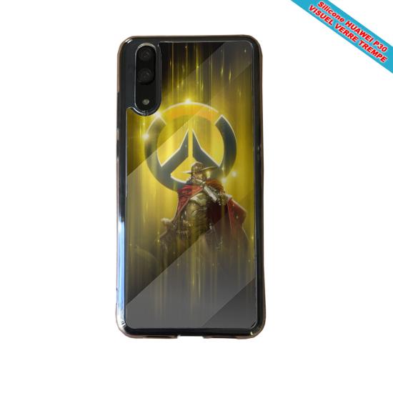Coque silicone Huawei P8 Hibiscus bleu