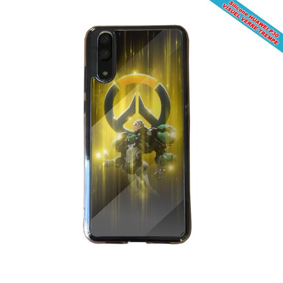Coque Silicone Galaxy S20 verre trempé Hibiscus bleu