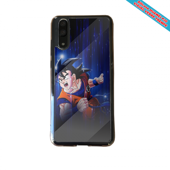 Coque Silicone Galaxy S9 verre trempé Hibiscus bleu