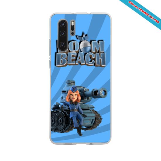 Coque silicone Galaxy J7 2018 Hibiscus bleu