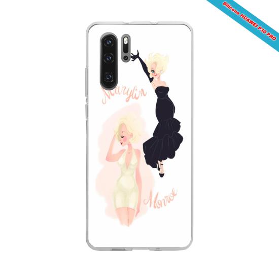 Coque silicone Galaxy A40 Hibiscus bleu