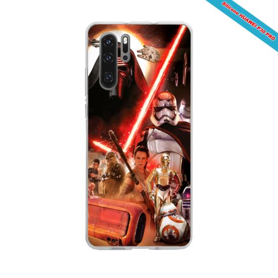 Coque silicone Iphone 11 Pro Max Hibiscus bleu