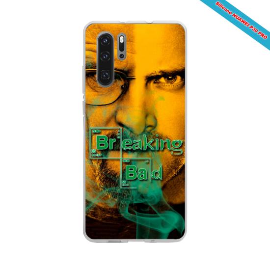 Coque silicone Iphone 11 verre trempé Hibiscus bleu