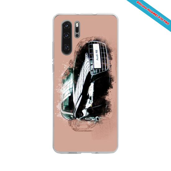 Coque silicone Iphone X/XS Hibiscus bleu