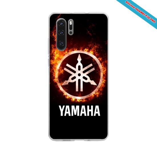Coque Silicone iphone 7/8 PLUS Verre trempé Hibiscus bleu