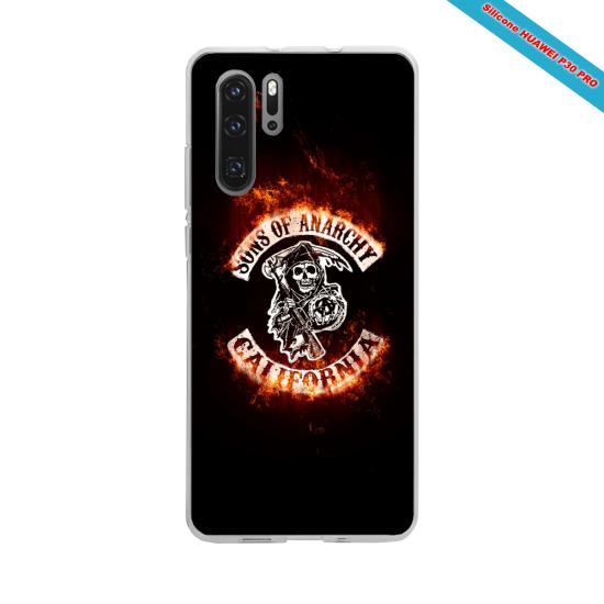 Coque Silicone iphone 7/8 Hibiscus bleu