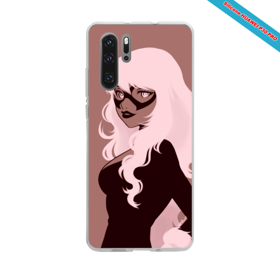 Coque silicone Galaxy A70 Hibiscus rouge