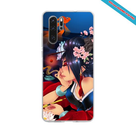 Coque silicone Galaxy J6 PLUS Hibiscus rouge