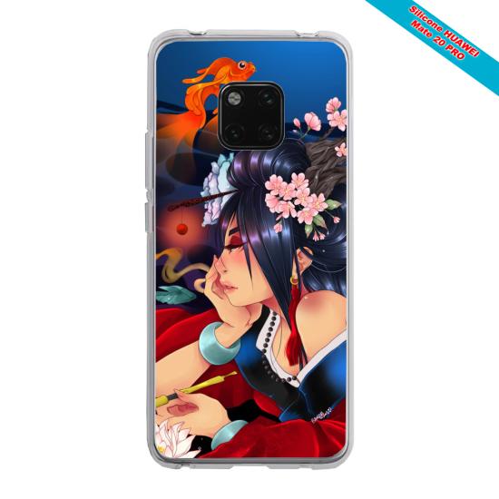 Coque Silicone iphone 7/8 PLUS Verre trempé Papillon de nuit mandala