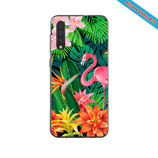 Coque silicone Galaxy A10S Hibiscus rouge