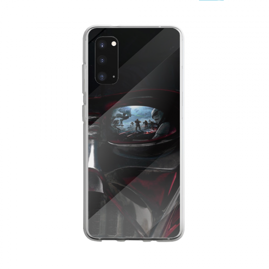 Coque silicone Galaxy A40S ou M30 Hibiscus rouge