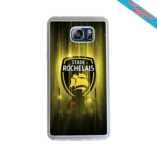 Coque Silicone Galaxy S9 verre trempé Fan de Rugby Racing 92 Géometrics