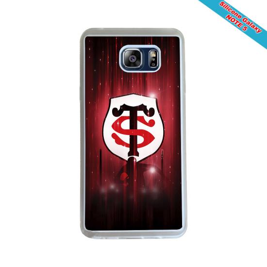 Coque Silicone Galaxy S9 PLUS verre trempé Fan de Rugby Racing 92 Géometrics