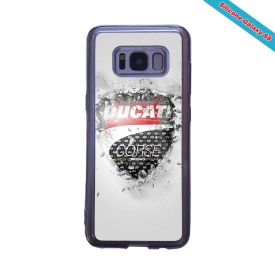 Coque Silicone iphone 7/8 verre trempé Fan de Rugby Paris Destruction