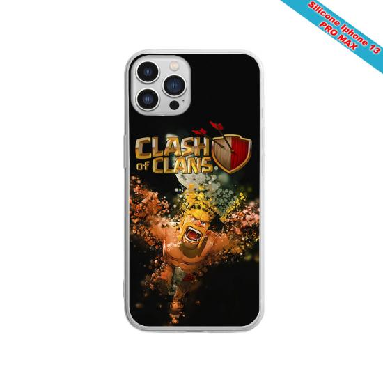 Coque silicone gravure sur bois Yin yang stylé