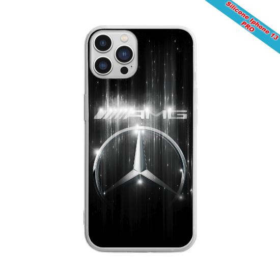 Coque silicone gravure sur bois moto