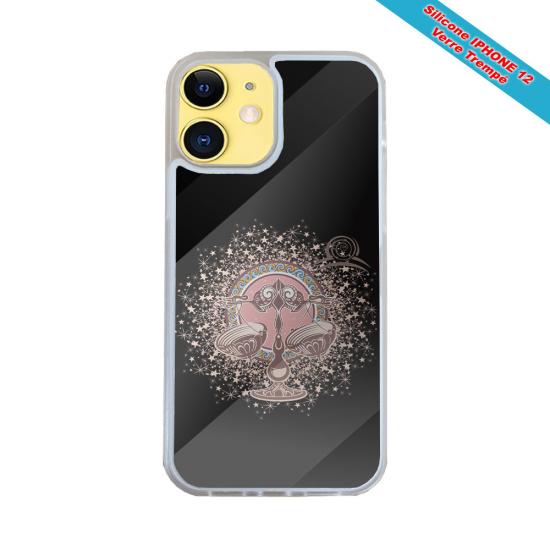 Coque IPhone silicone gravure sur Montgolfière et Baleine Matières:Silicone et bois bambou