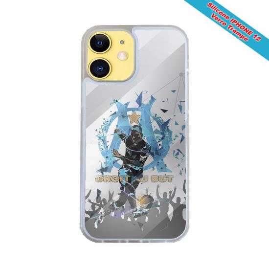 Coque IPhone silicone gravure sur Perroquet en Vol Matières:Silicone et bois bambou