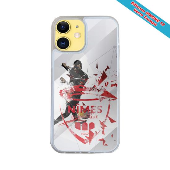 Coque IPhone silicone gravure sur Femme avec un cygne Matières:Silicone et bois bambou