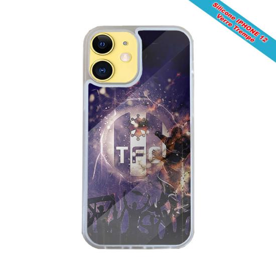 Coque Silicone iphone 7/8 PLUS Verre trempé Fan de Harley davidson obsidienne